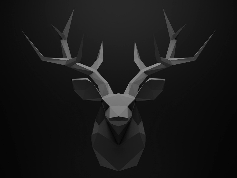 Low Poly Deer Head Wallpaper for Desktop 800x600