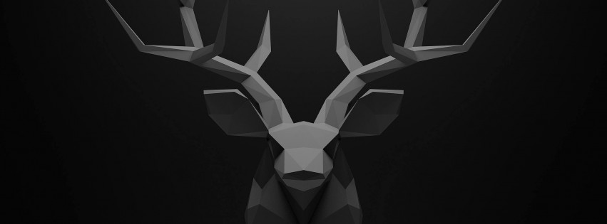 Low Poly Deer Head Wallpaper for Social Media Facebook Cover