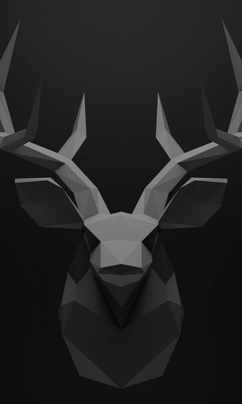 Low Poly Deer Head Wallpaper for SAMSUNG Galaxy S3 Mini