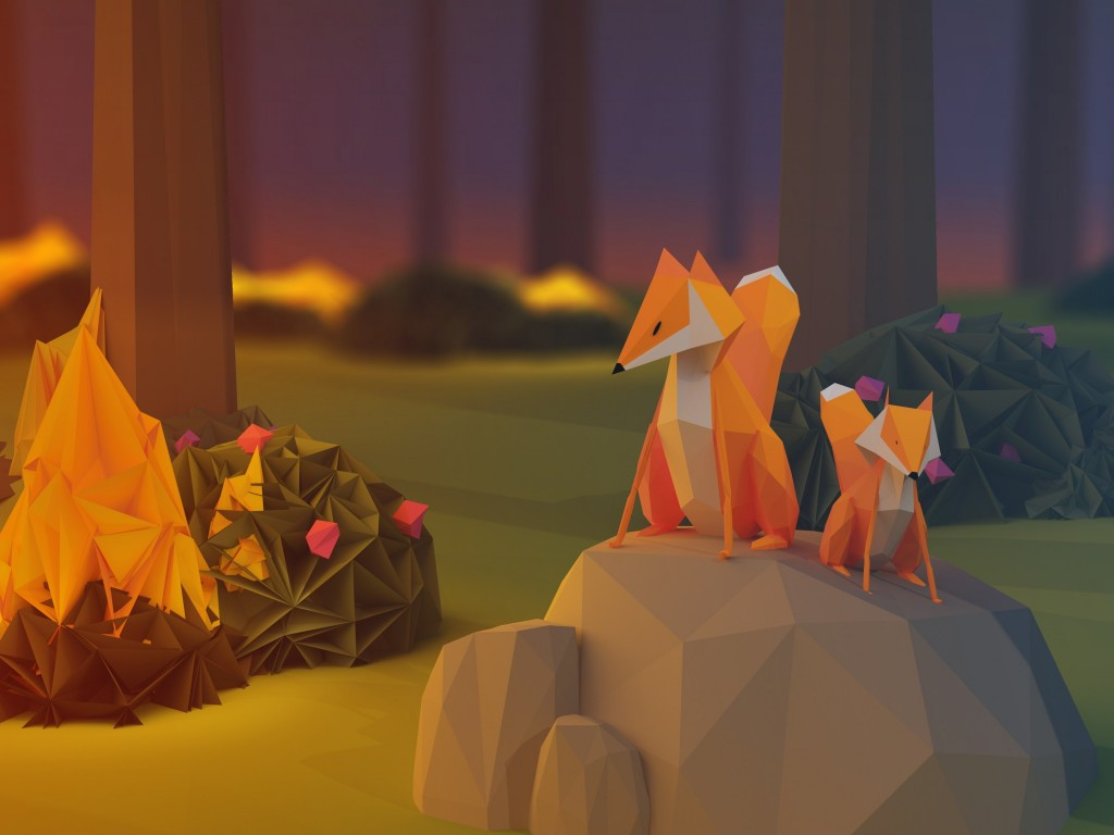 Low Poly Foxes Wallpaper for Desktop 1024x768