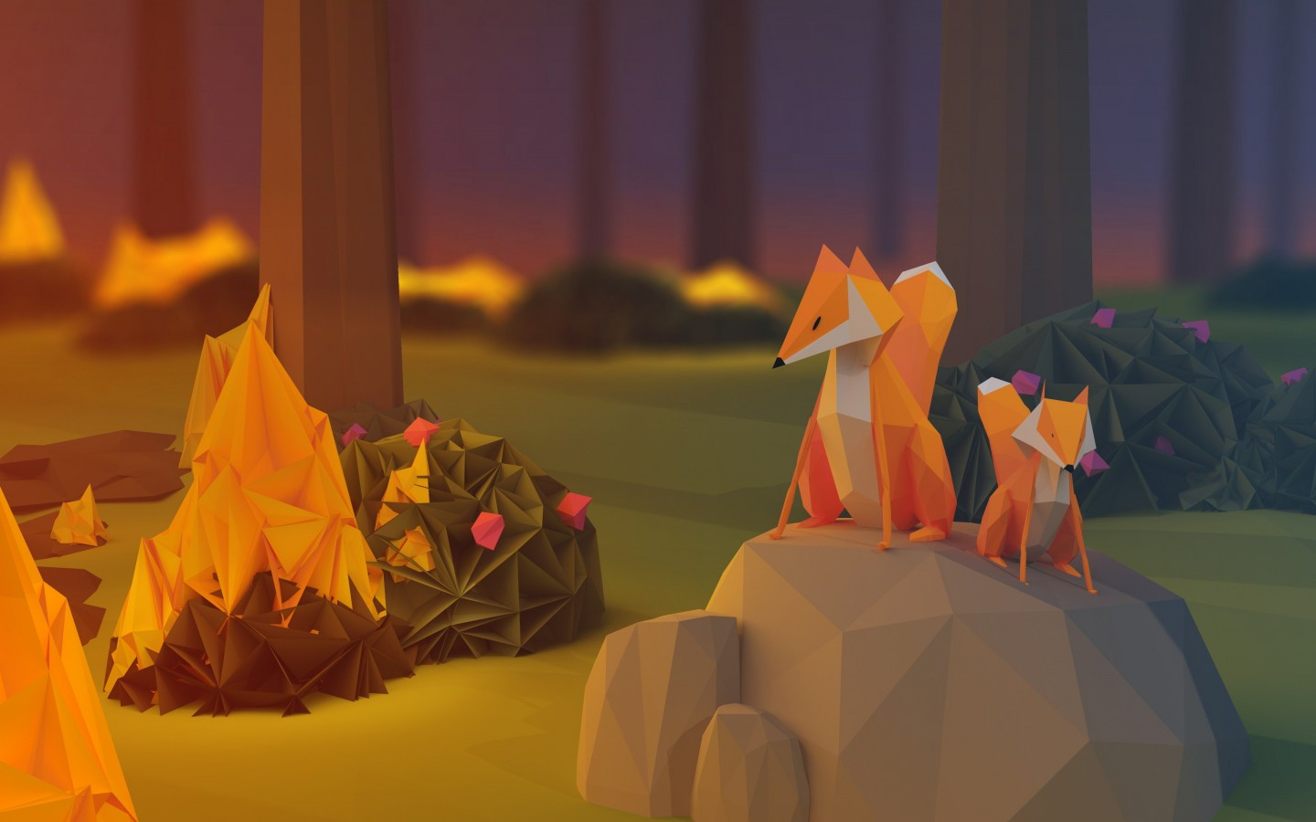 Low Poly Foxes Wallpaper for Desktop 1440x900