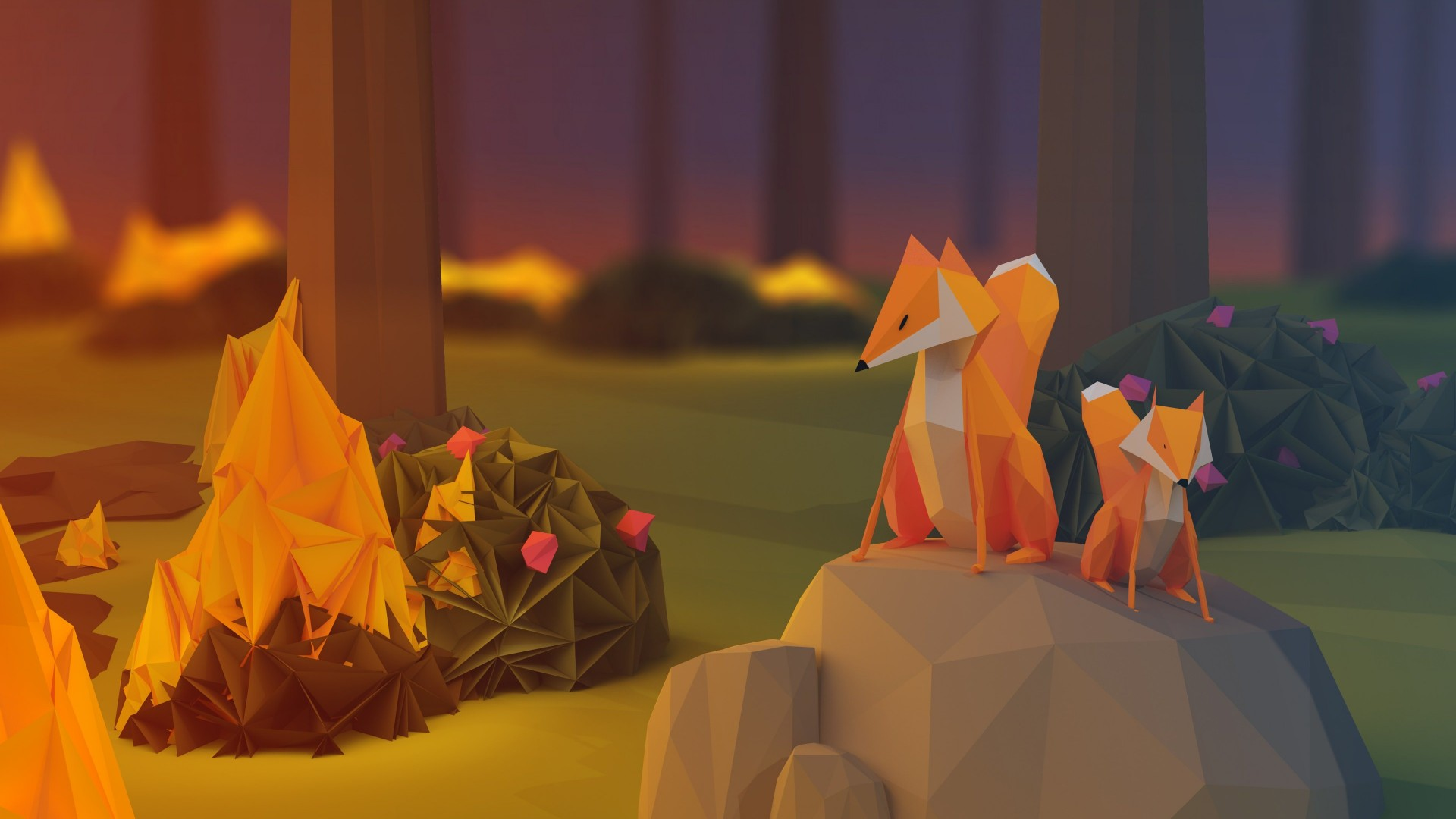 Low Poly Foxes Wallpaper for Desktop 1920x1080