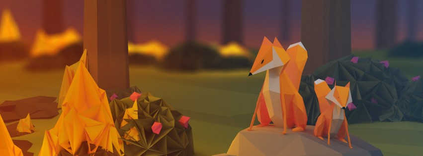 Low Poly Foxes Wallpaper for Social Media Facebook Cover