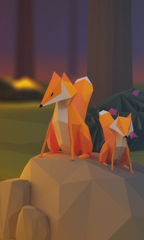 Low Poly Foxes Wallpaper for HTC Desire HD
