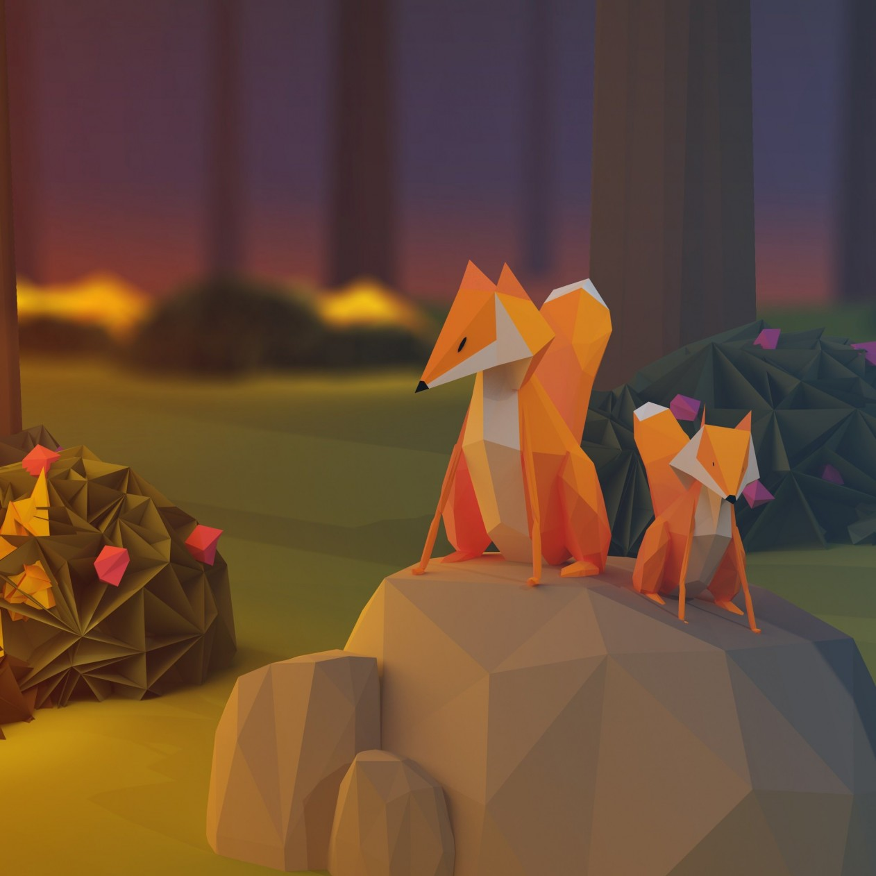 Low Poly Foxes Wallpaper for Apple iPad mini