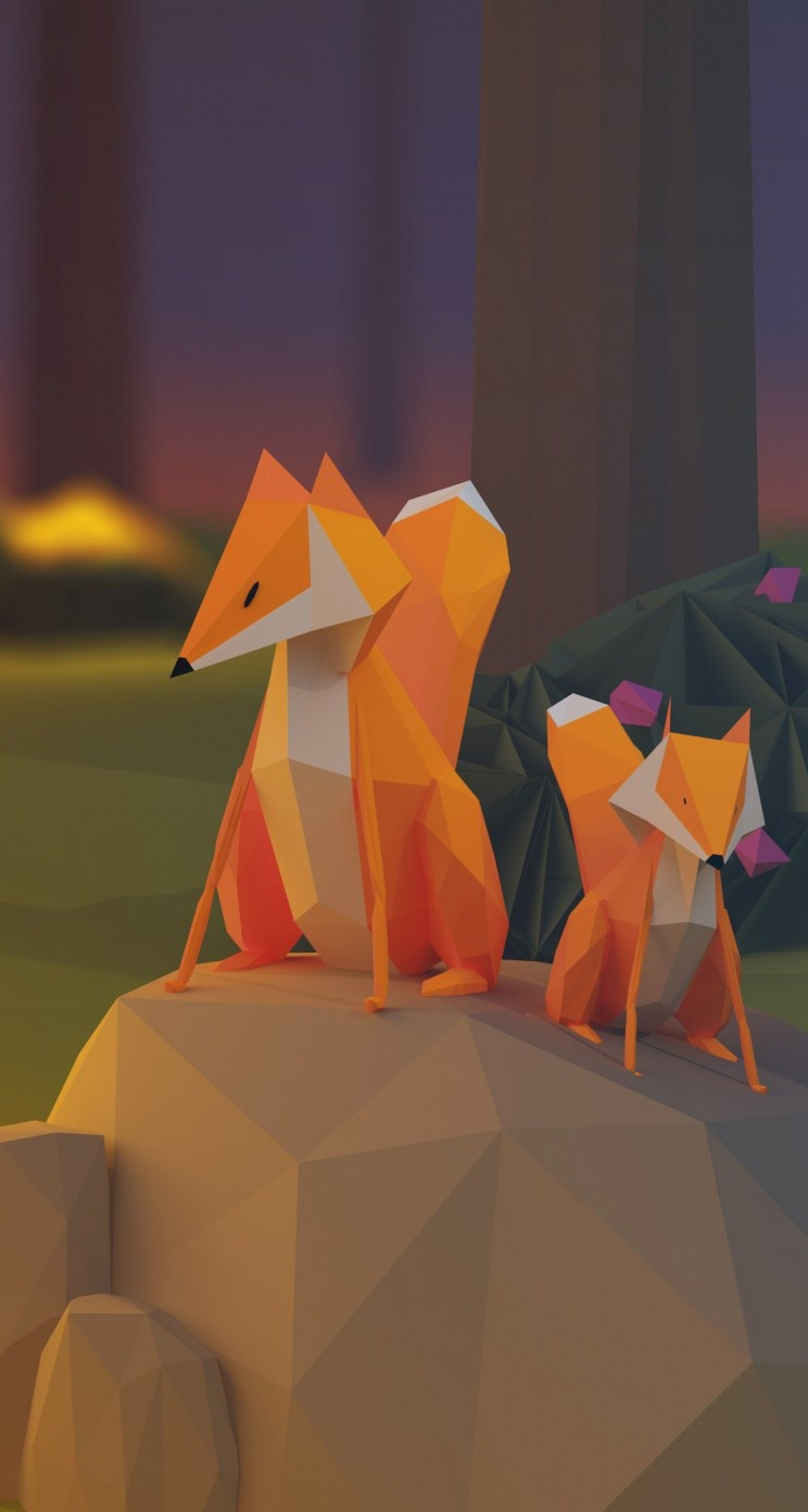Low Poly Foxes Wallpaper for Apple iPhone 5 / 5s