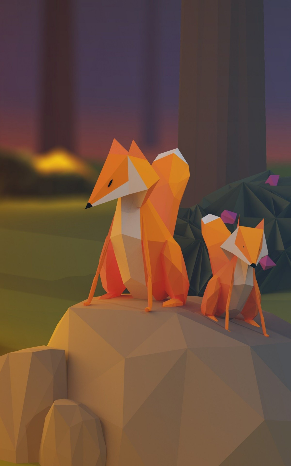 Low Poly Foxes Wallpaper for Amazon Kindle Fire HDX