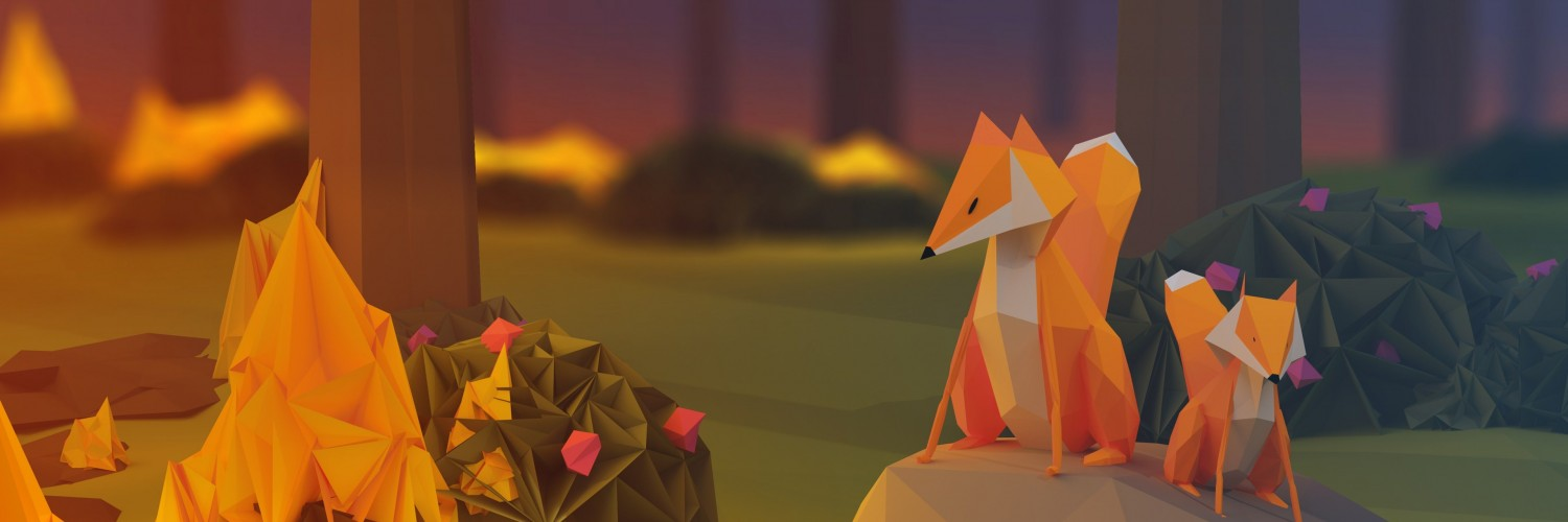 Low Poly Foxes Wallpaper for Social Media Twitter Header
