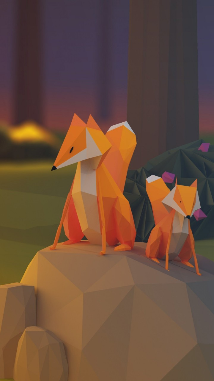 Low Poly Foxes Wallpaper for Xiaomi Redmi 1S