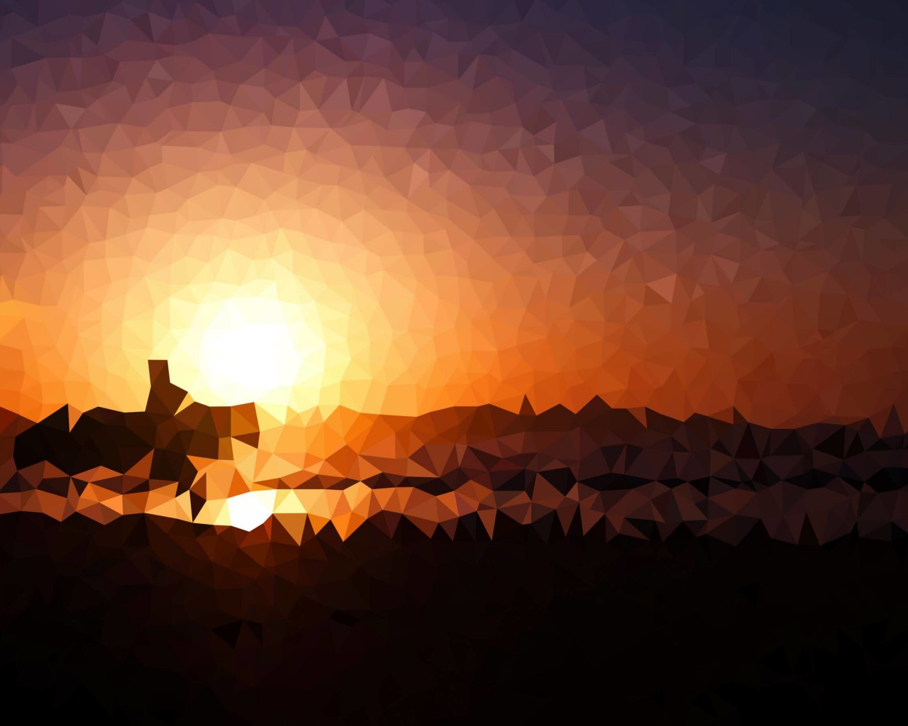 Low Poly Sunset Wallpaper for Desktop 1280x1024