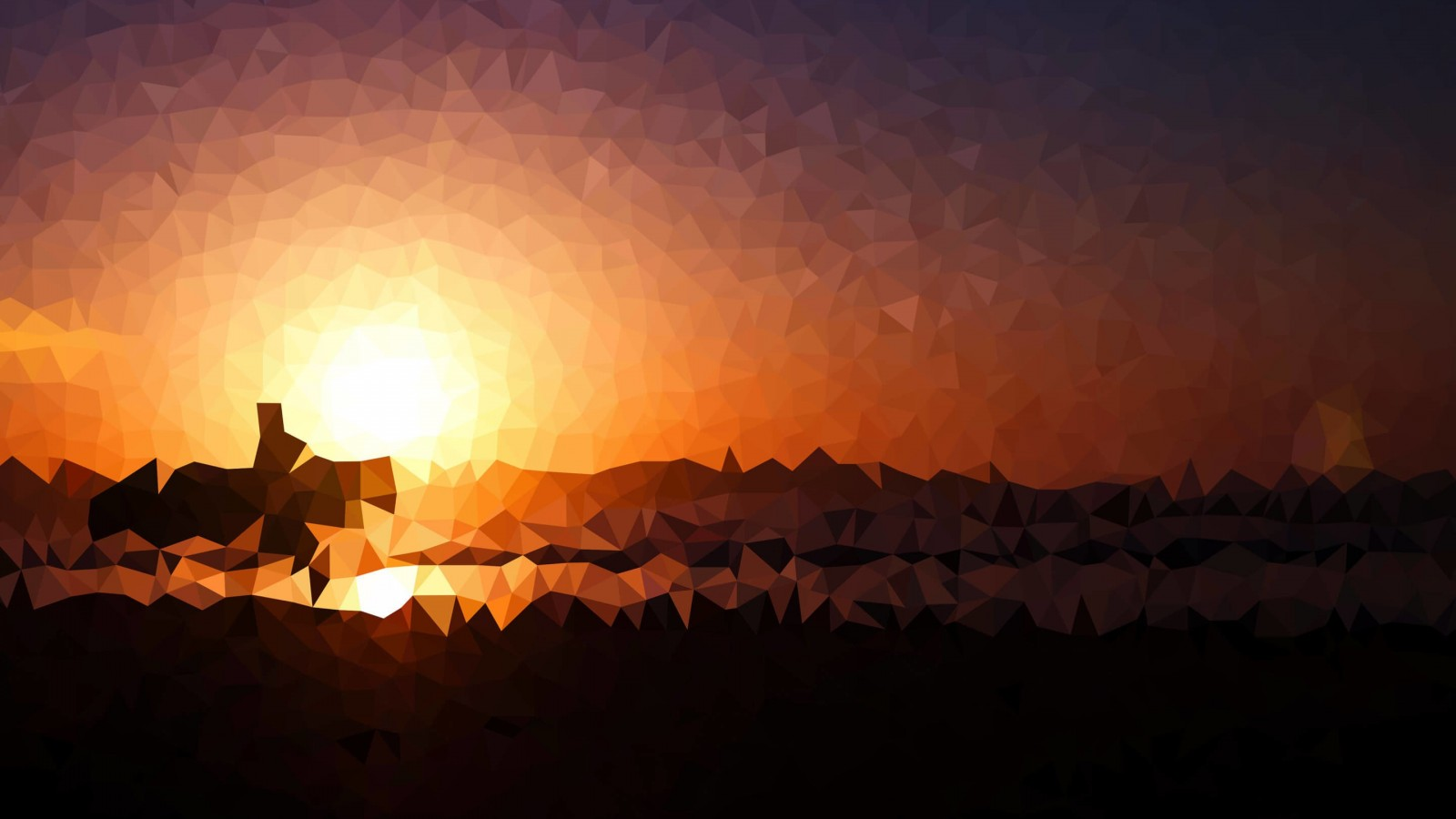 Low Poly Sunset Wallpaper for Desktop 1600x900