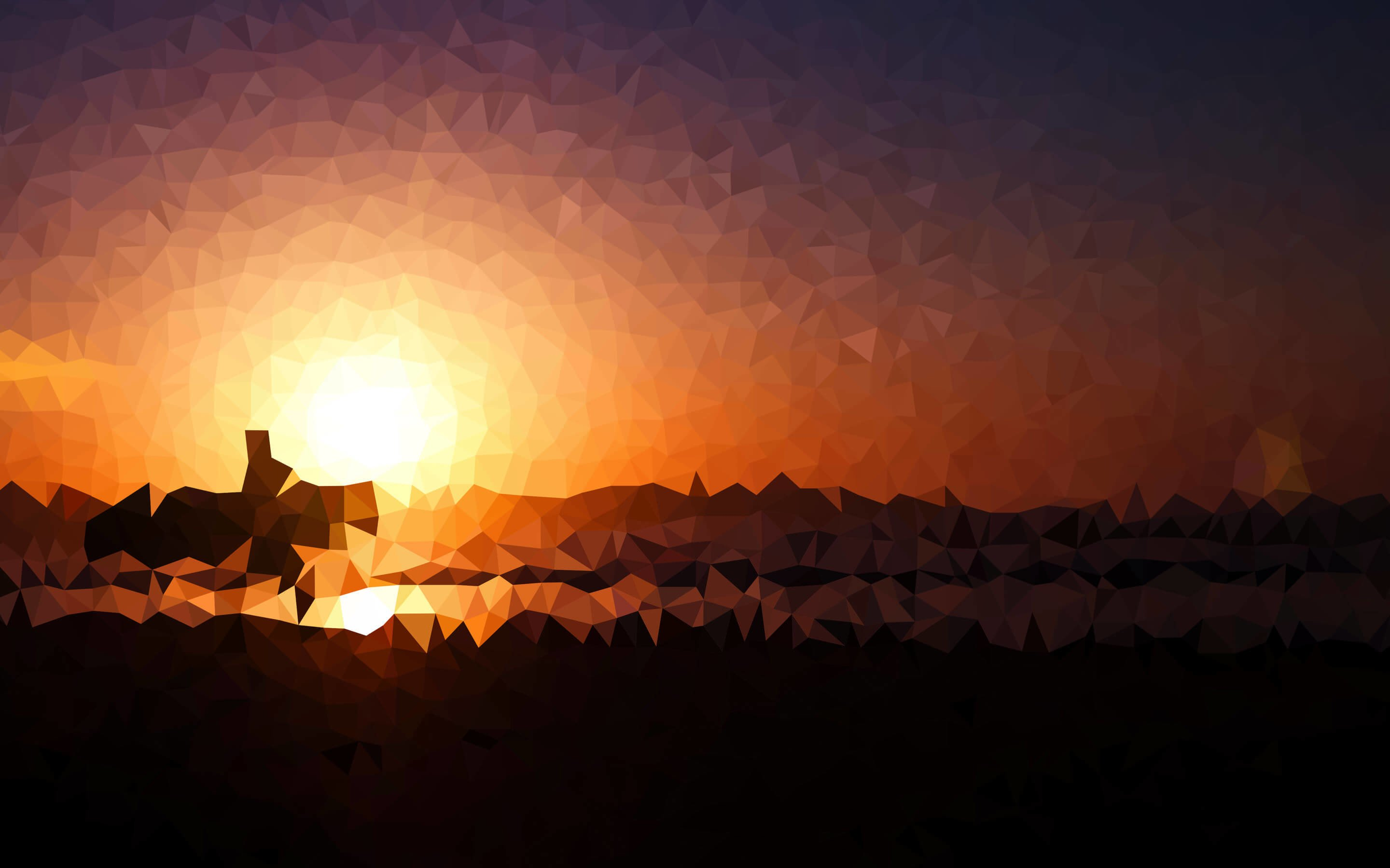 Low Poly Sunset Wallpaper for Desktop 2880x1800