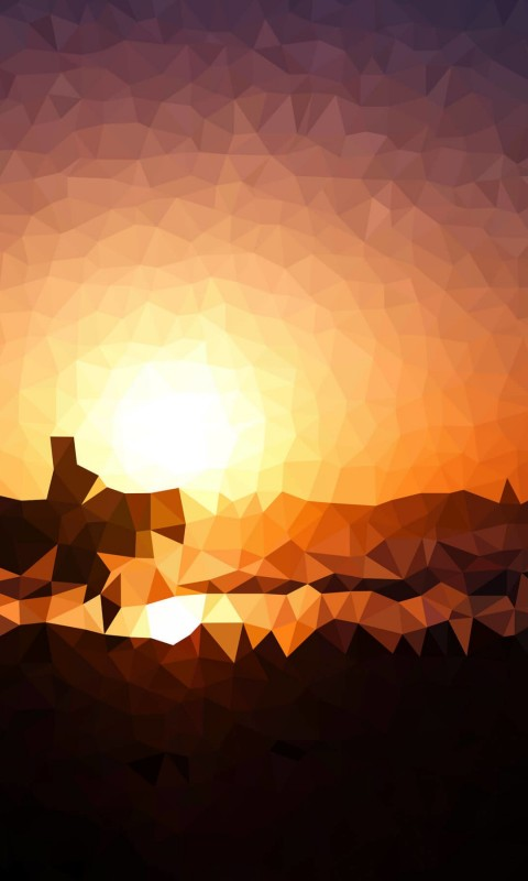 Low Poly Sunset Wallpaper for HTC Desire HD