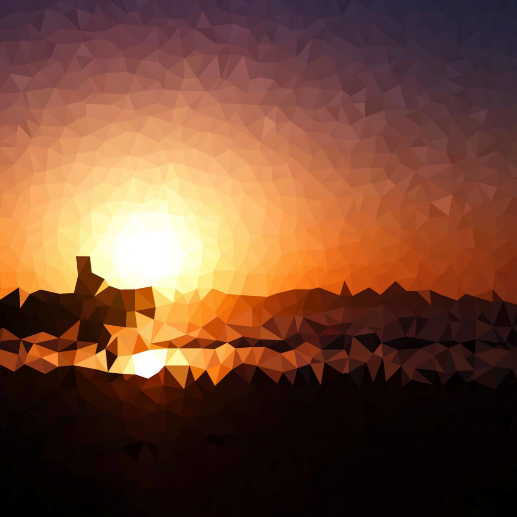 Low Poly Sunset Wallpaper for Apple iPad 2