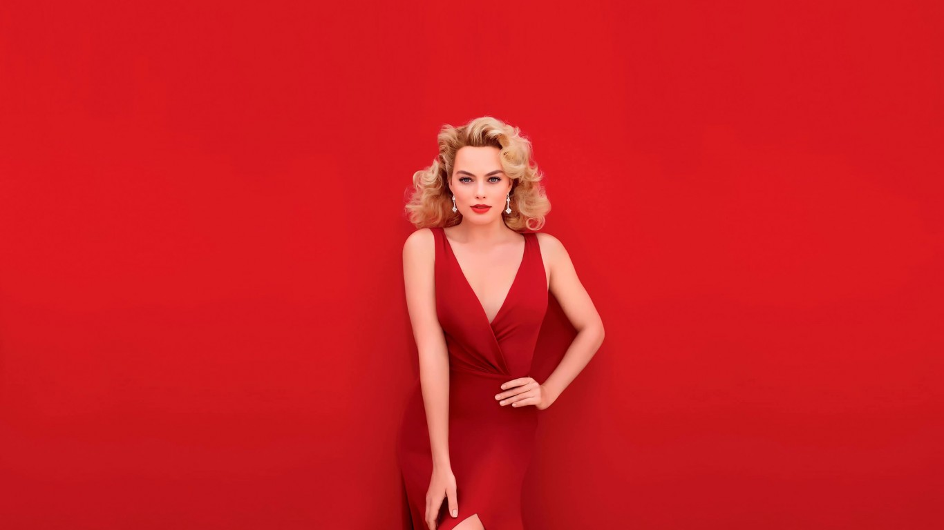 Margot Robbie In Red Wallpaper for Desktop 1366x768