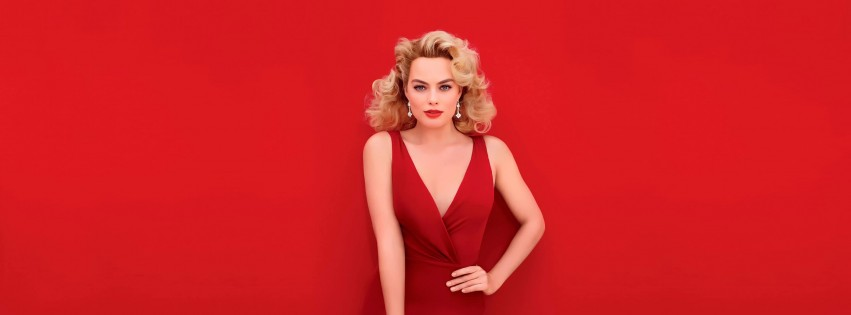 Margot Robbie In Red Wallpaper for Social Media Facebook Cover