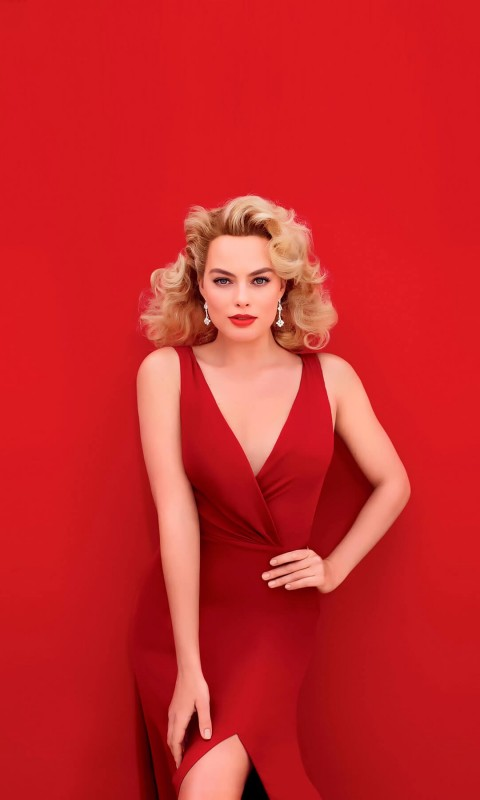 Margot Robbie In Red Wallpaper for HTC Desire HD