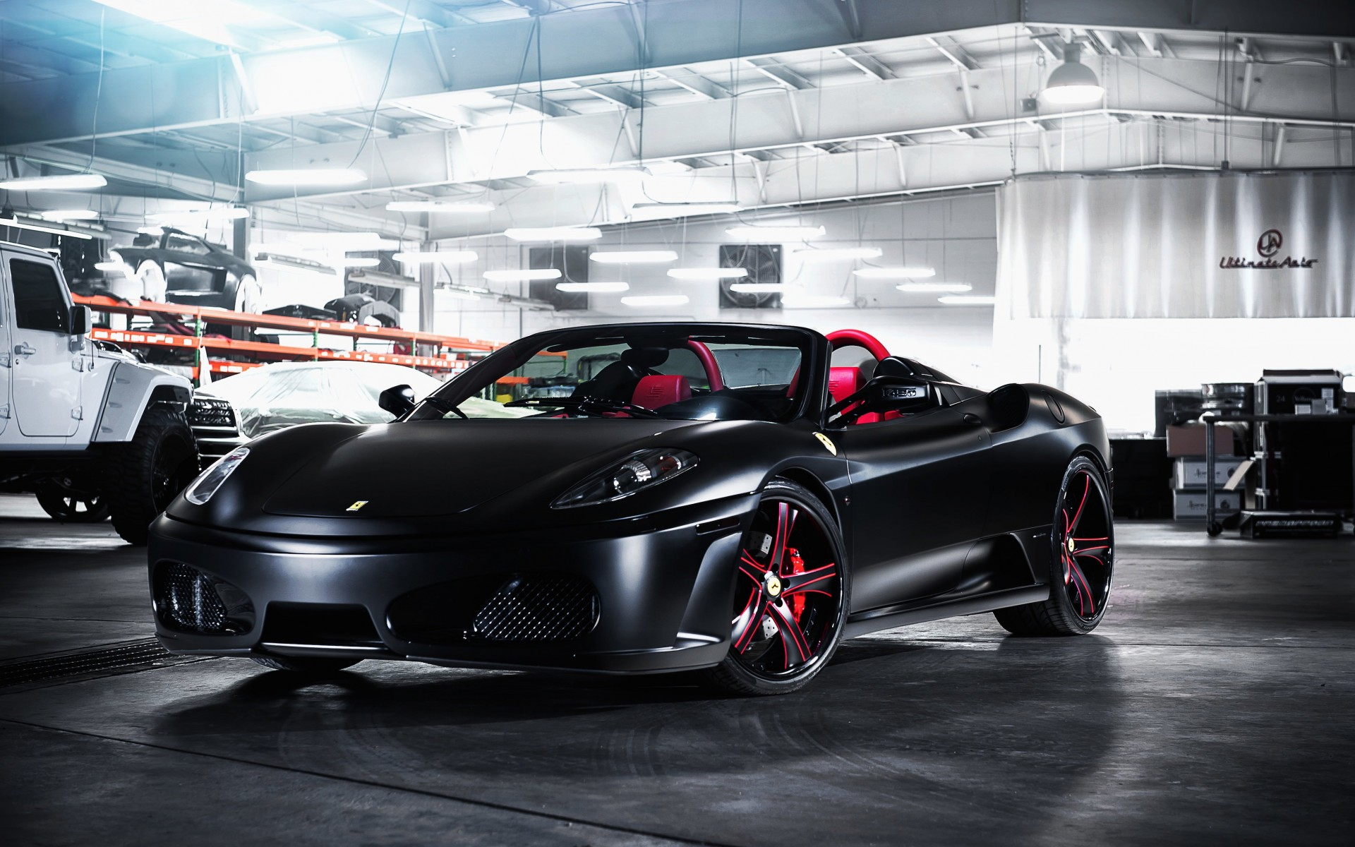 Matte Black Ferrari F430 on Savini Wheels Wallpaper for Desktop 1920x1200
