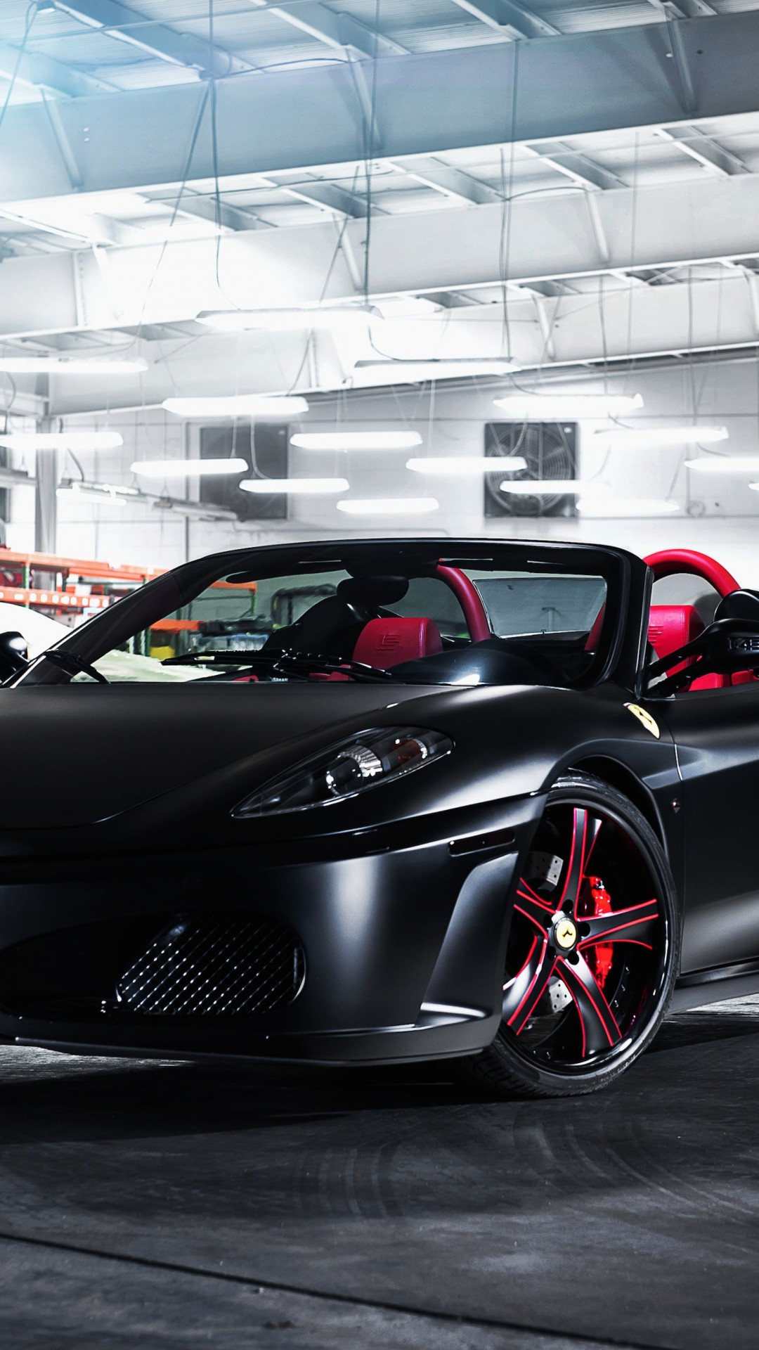 Matte Black Ferrari F430 on Savini Wheels Wallpaper for SAMSUNG Galaxy S5