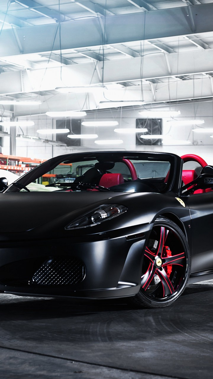 Matte Black Ferrari F430 on Savini Wheels Wallpaper for Xiaomi Redmi 2