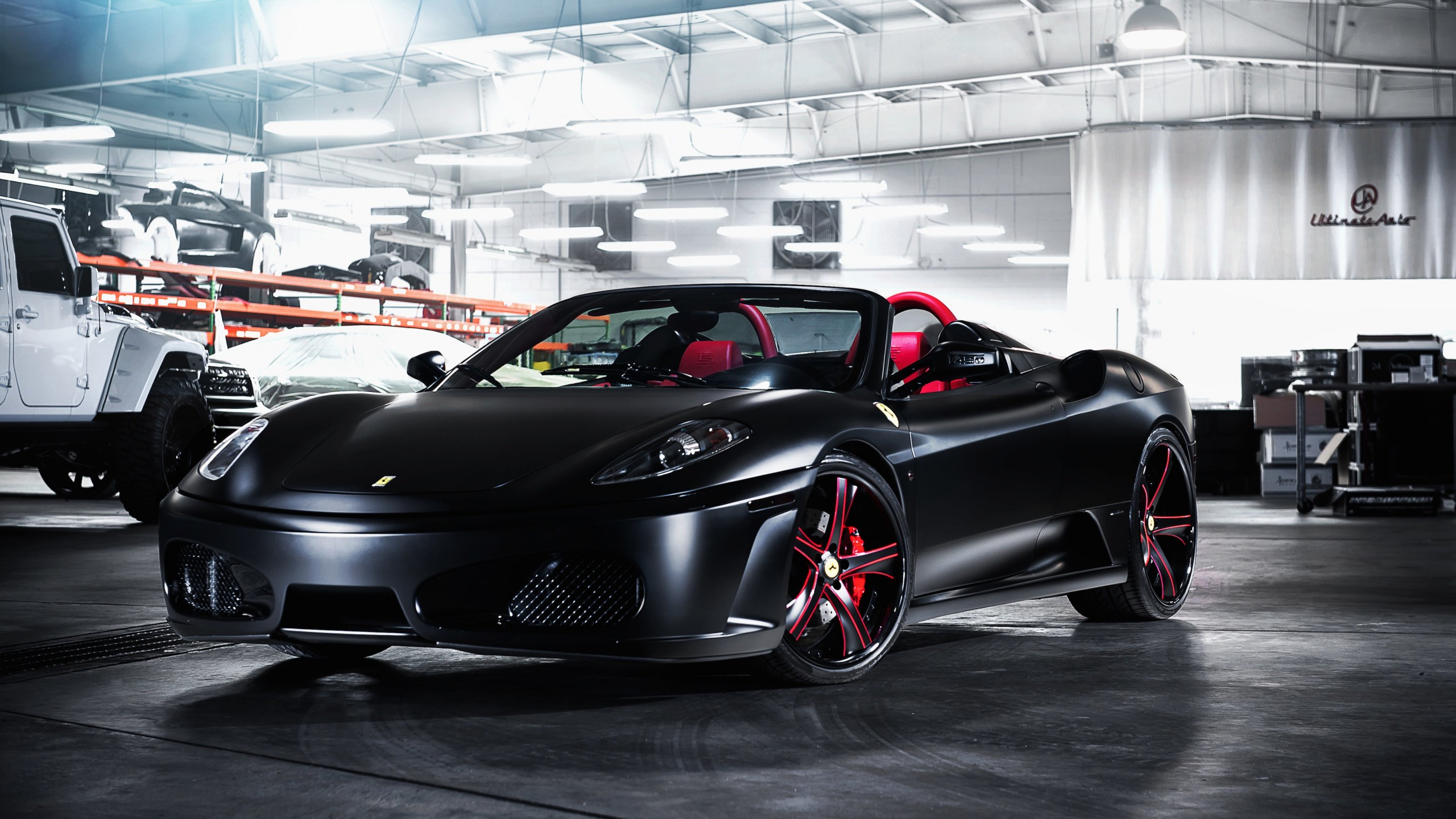 Matte Black Ferrari F430 on Savini Wheels Wallpaper for Social Media YouTube Channel Art