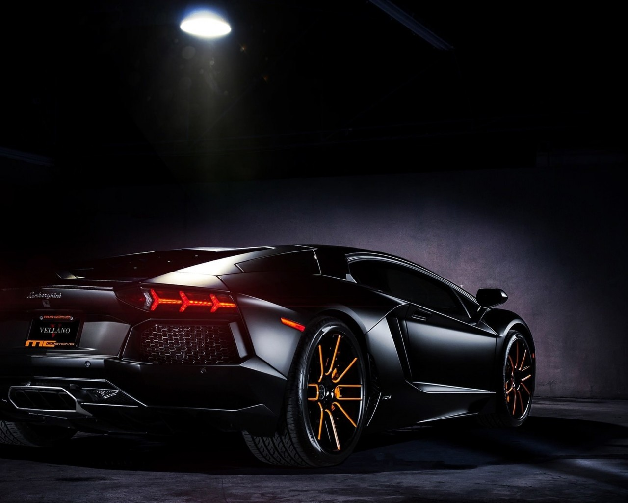 Matte Black Lamborghini Aventador on Vellano wheels Wallpaper for Desktop 1280x1024