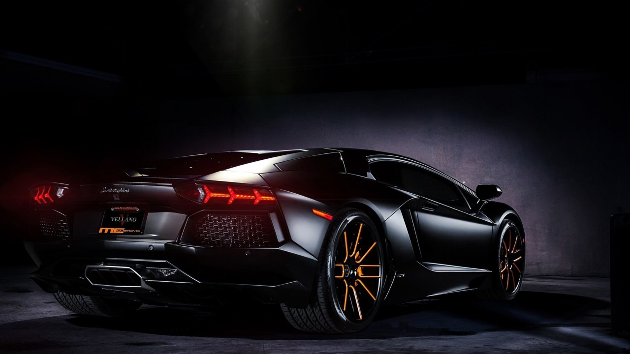 Matte Black Lamborghini Aventador on Vellano wheels Wallpaper for Desktop 1280x720