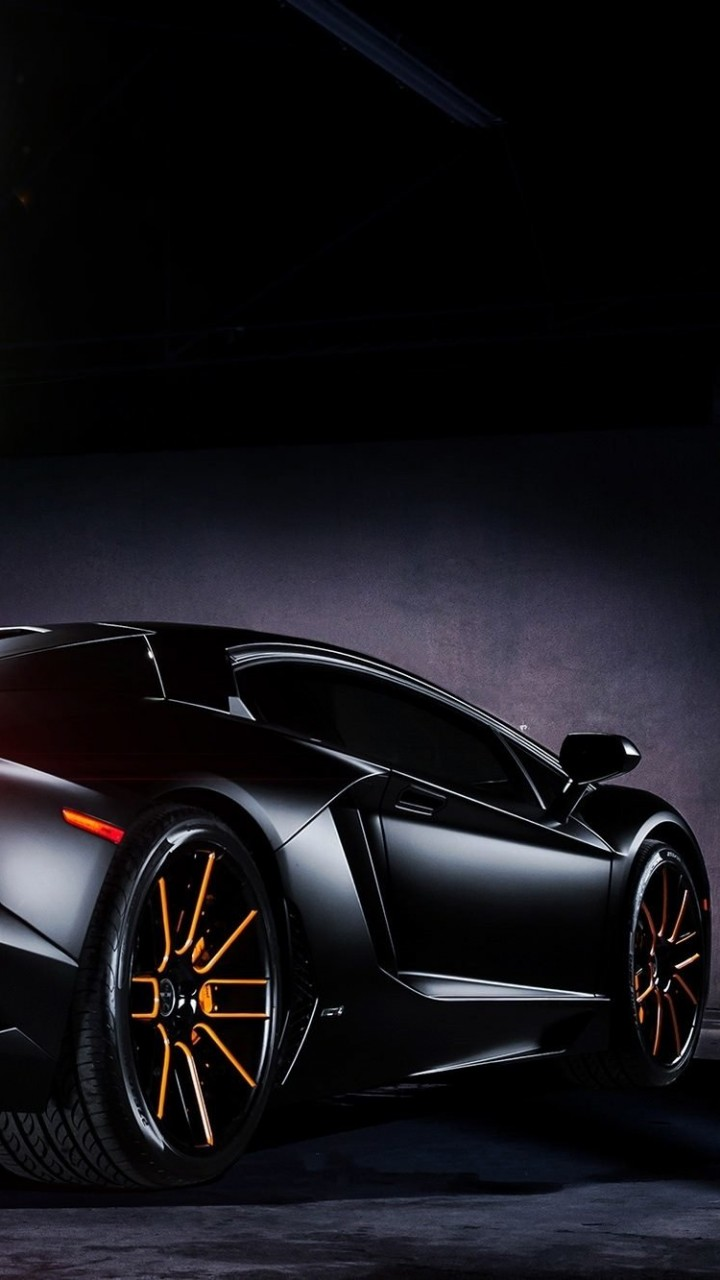 Matte Black Lamborghini Aventador on Vellano wheels Wallpaper for SAMSUNG Galaxy S5 Mini