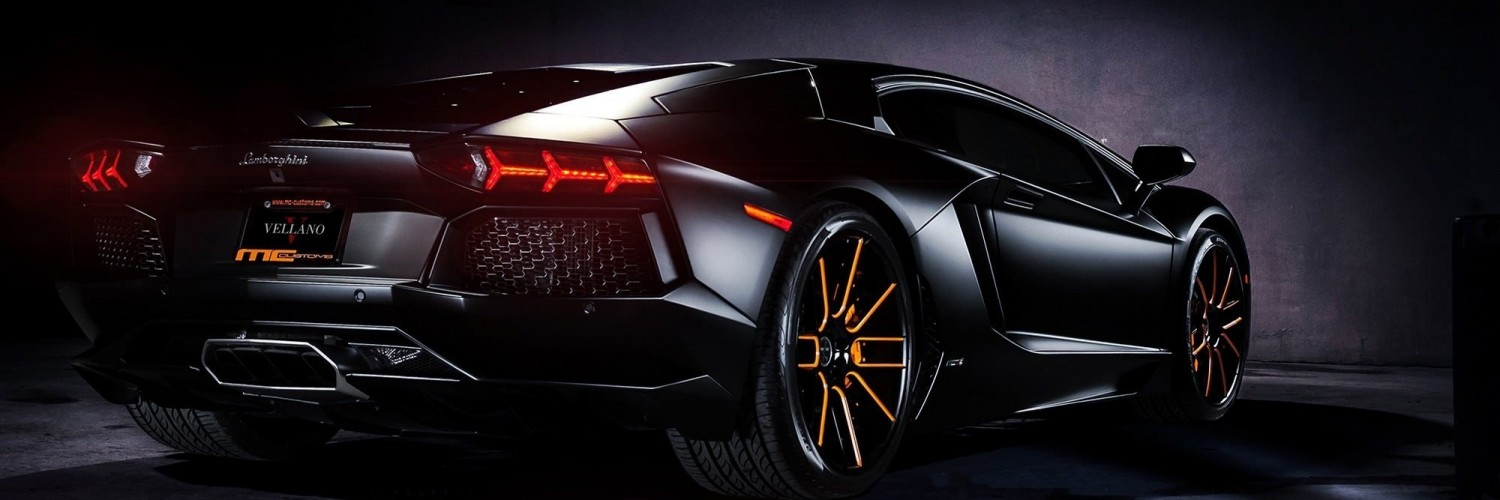 Matte Black Lamborghini Aventador on Vellano wheels Wallpaper for Social Media Twitter Header
