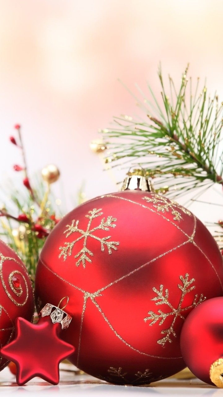 Matte Red Christmas Ball Ornaments Wallpaper for Google Galaxy Nexus