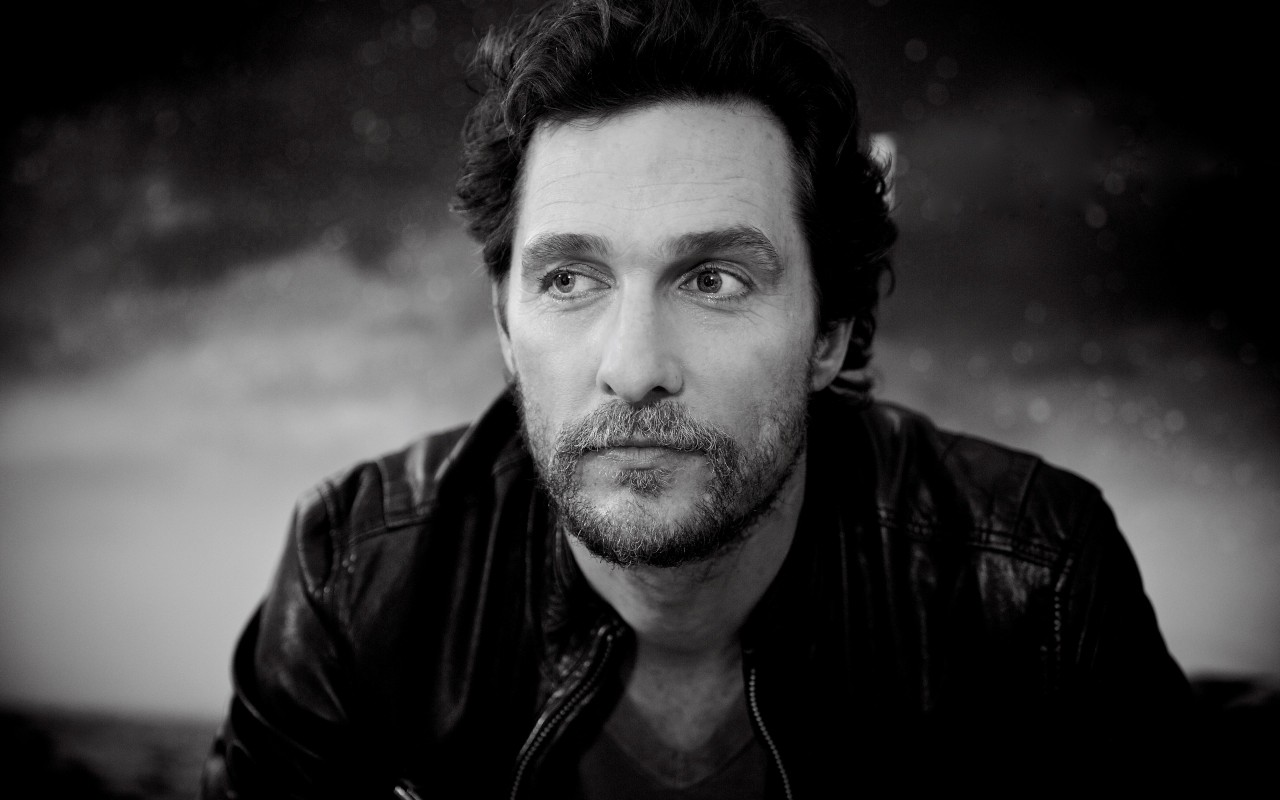 Matthew McConaughey Black & White Portrait Wallpaper for Desktop 1280x800