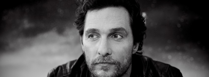 Matthew McConaughey Black & White Portrait Wallpaper for Social Media Facebook Cover