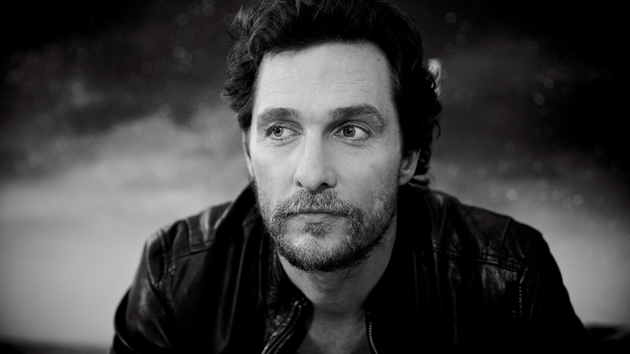 Matthew McConaughey Black & White Portrait Wallpaper for Social Media YouTube Channel Art