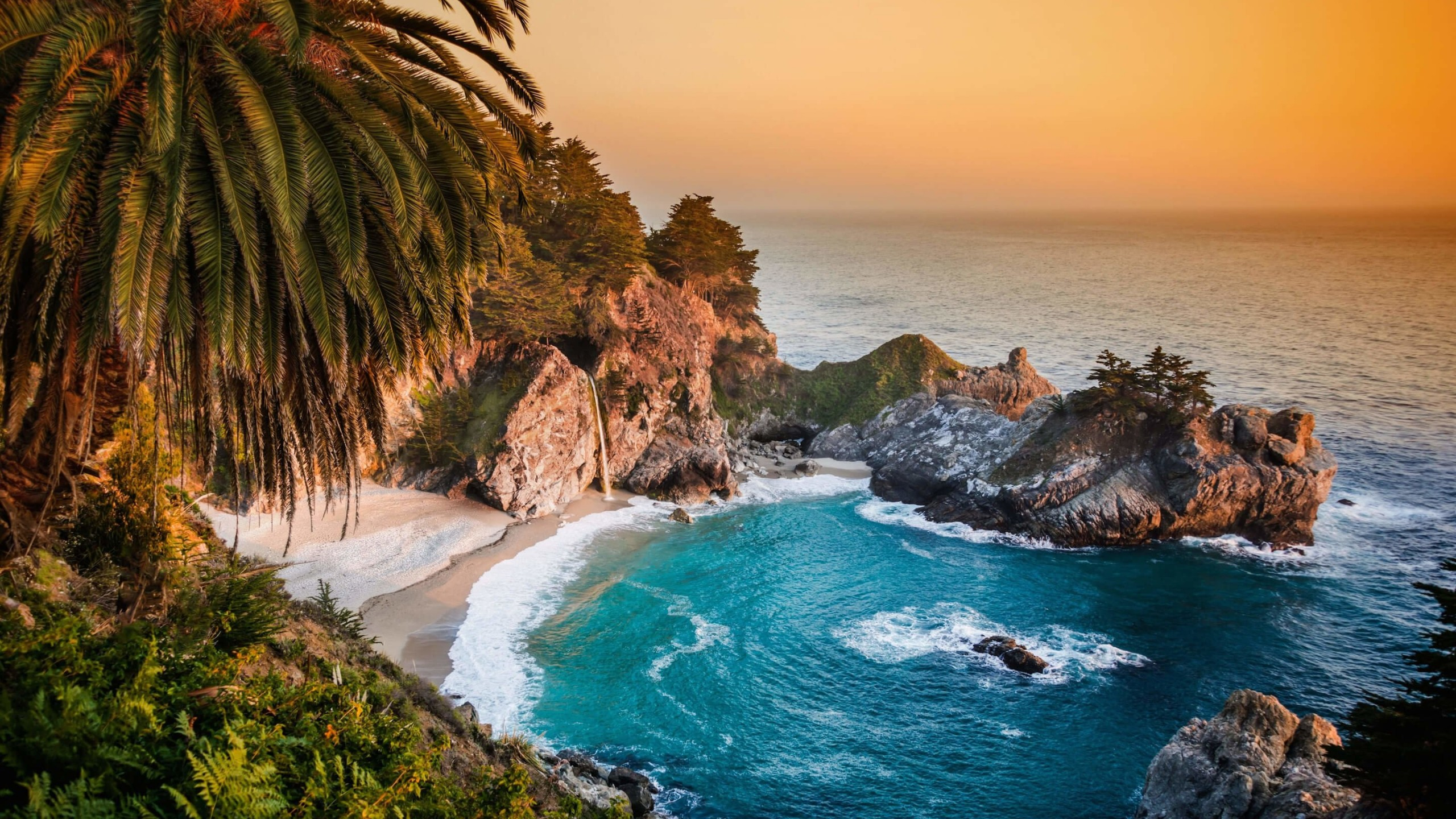 McWay Falls in Big Sur, California, USA Wallpaper for Social Media YouTube Channel Art