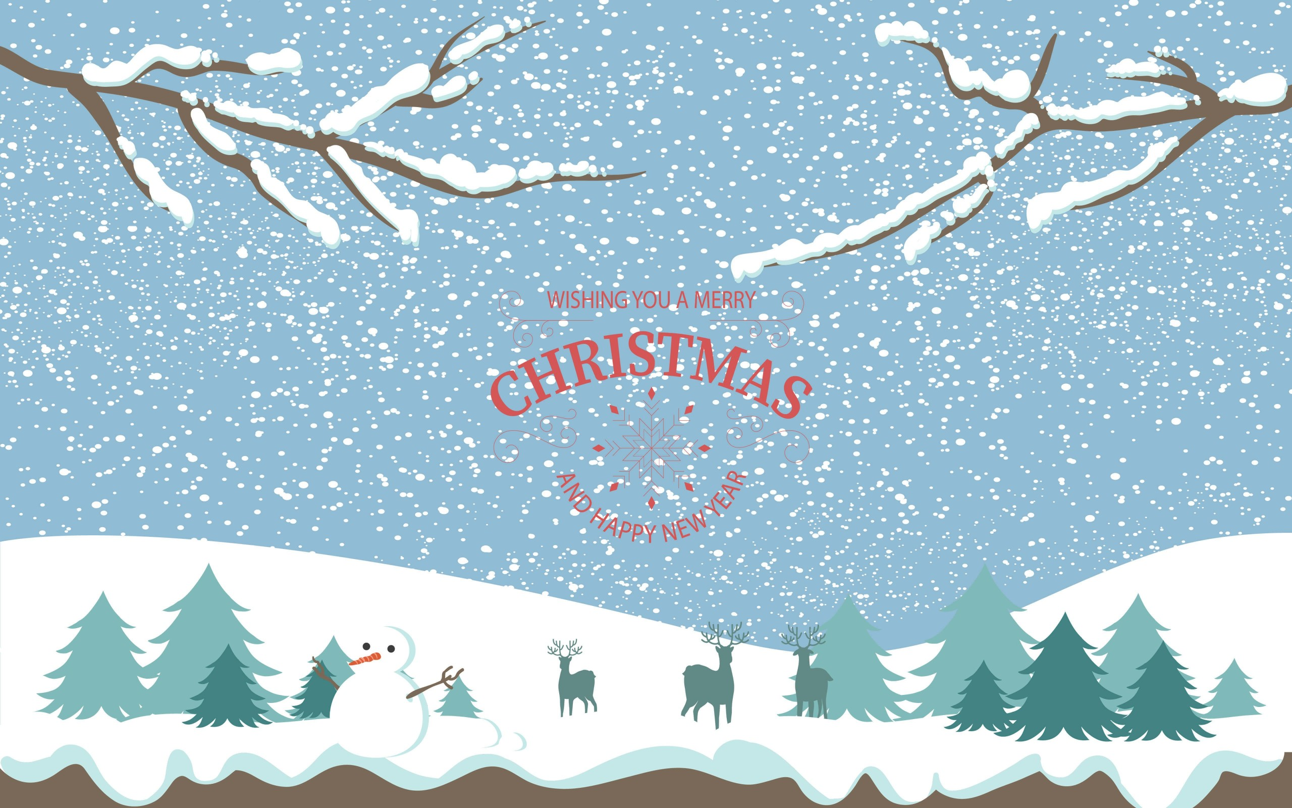 Merry Christmas Illustration Wallpaper for Desktop 2560x1600