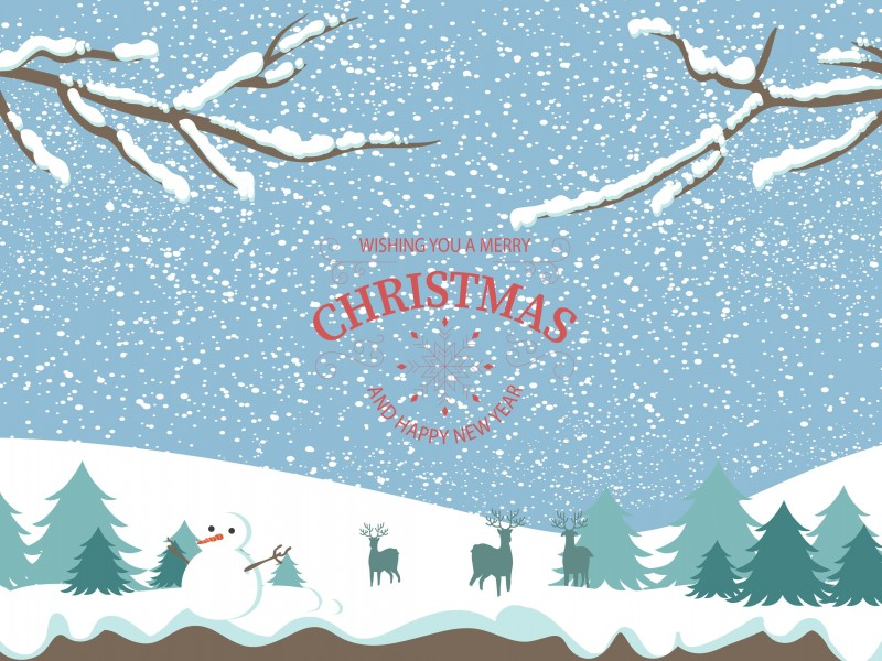 Merry Christmas Illustration Wallpaper for Desktop 800x600