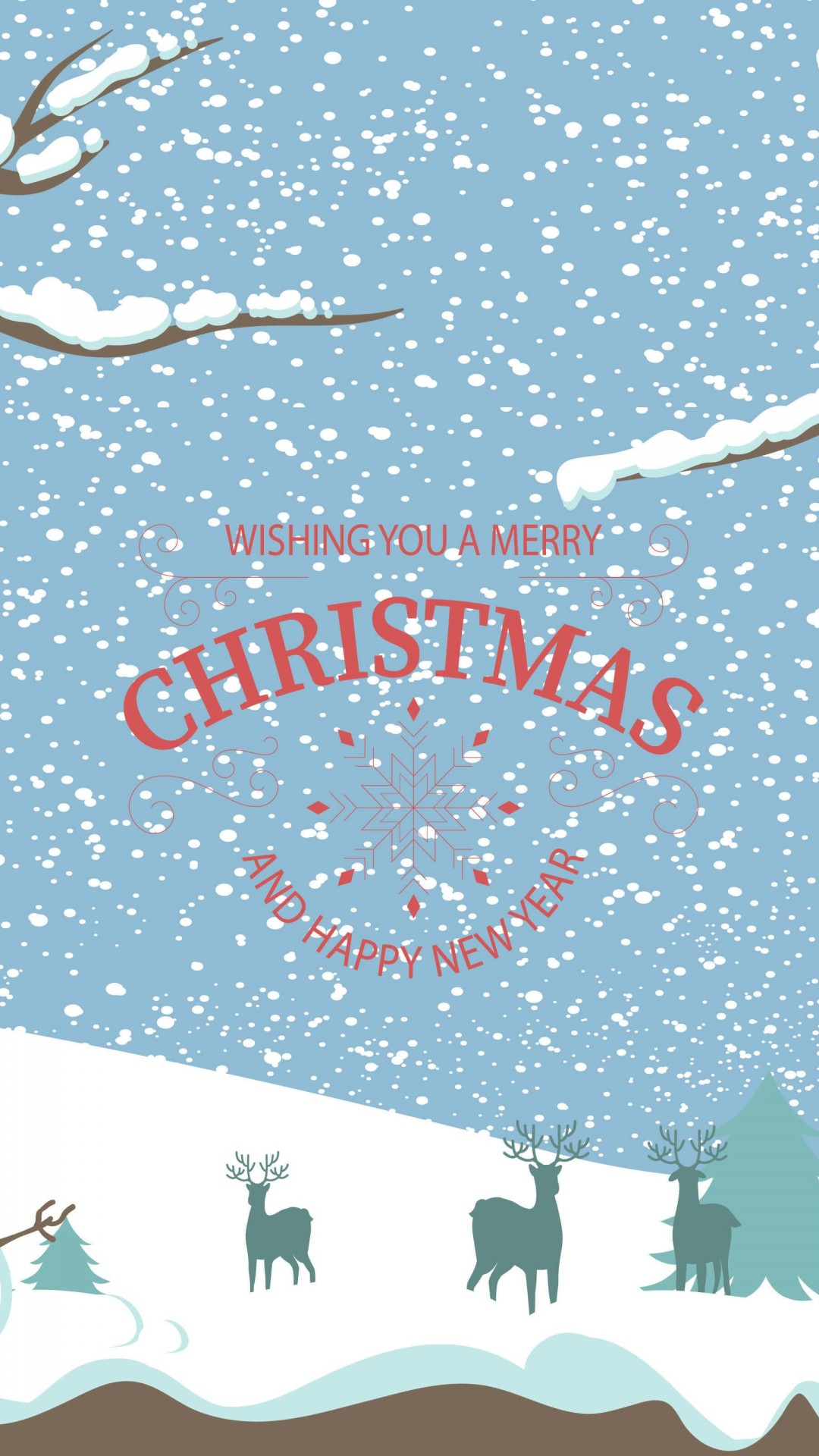 Merry Christmas Illustration Wallpaper for SAMSUNG Galaxy Note 3