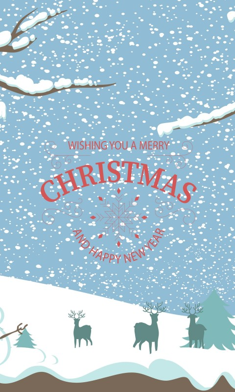 Merry Christmas Illustration Wallpaper for HTC Desire HD