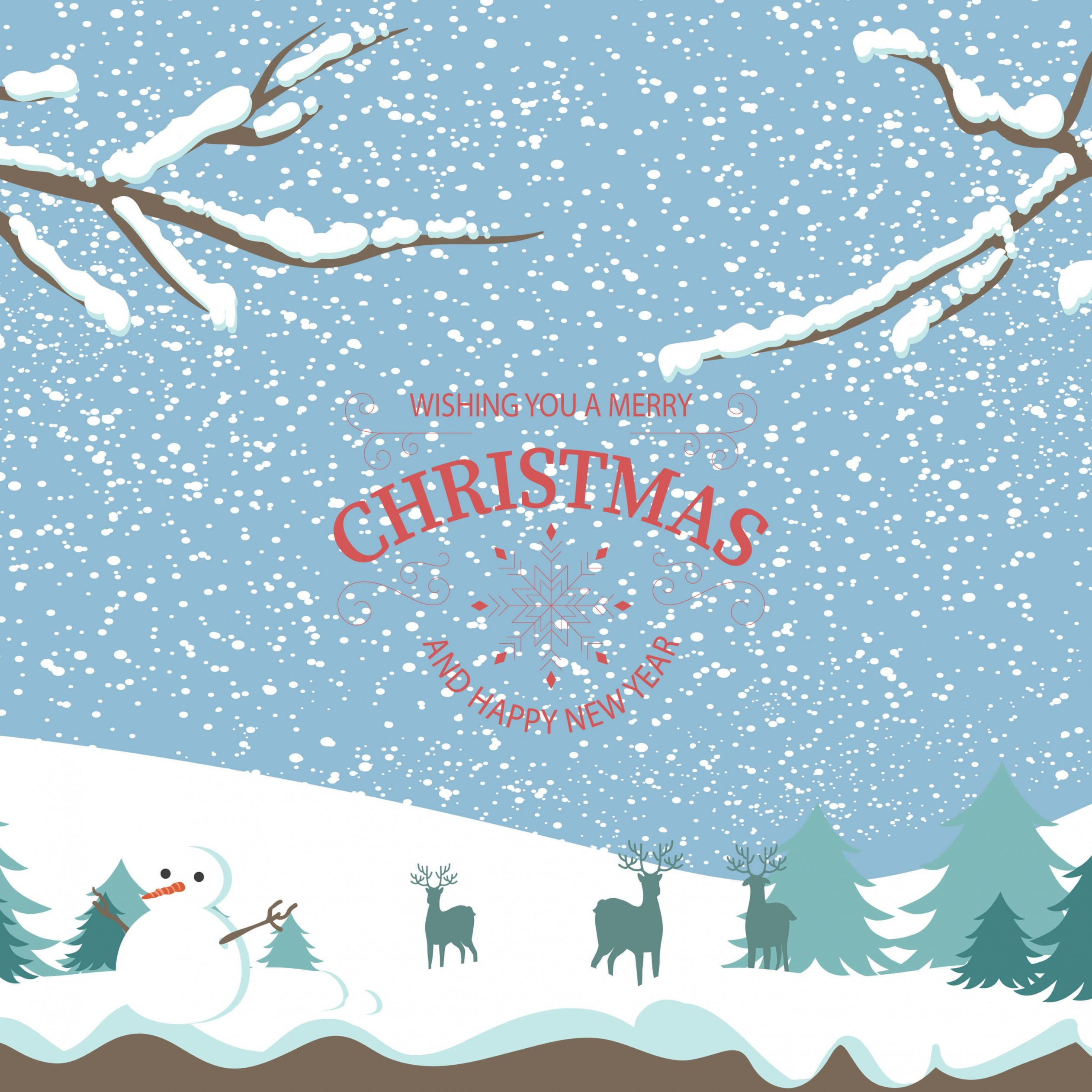 Merry Christmas Illustration Wallpaper for Apple iPad 3