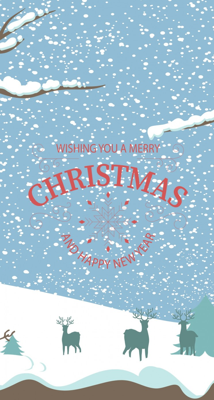 Merry Christmas Illustration Wallpaper for Apple iPhone 5 / 5s