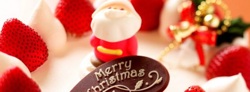 Merry Christmas Strawberry Dessert Wallpaper for Social Media Facebook Cover