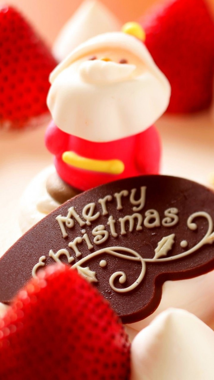 Merry Christmas Strawberry Dessert Wallpaper for SAMSUNG Galaxy S3