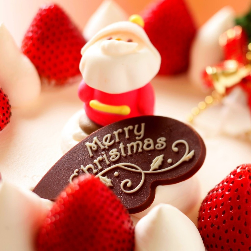 Merry Christmas Strawberry Dessert Wallpaper for Apple iPad 2
