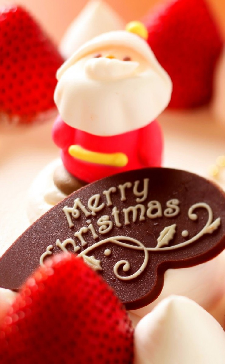 Merry Christmas Strawberry Dessert Wallpaper for Apple iPhone 4 / 4s