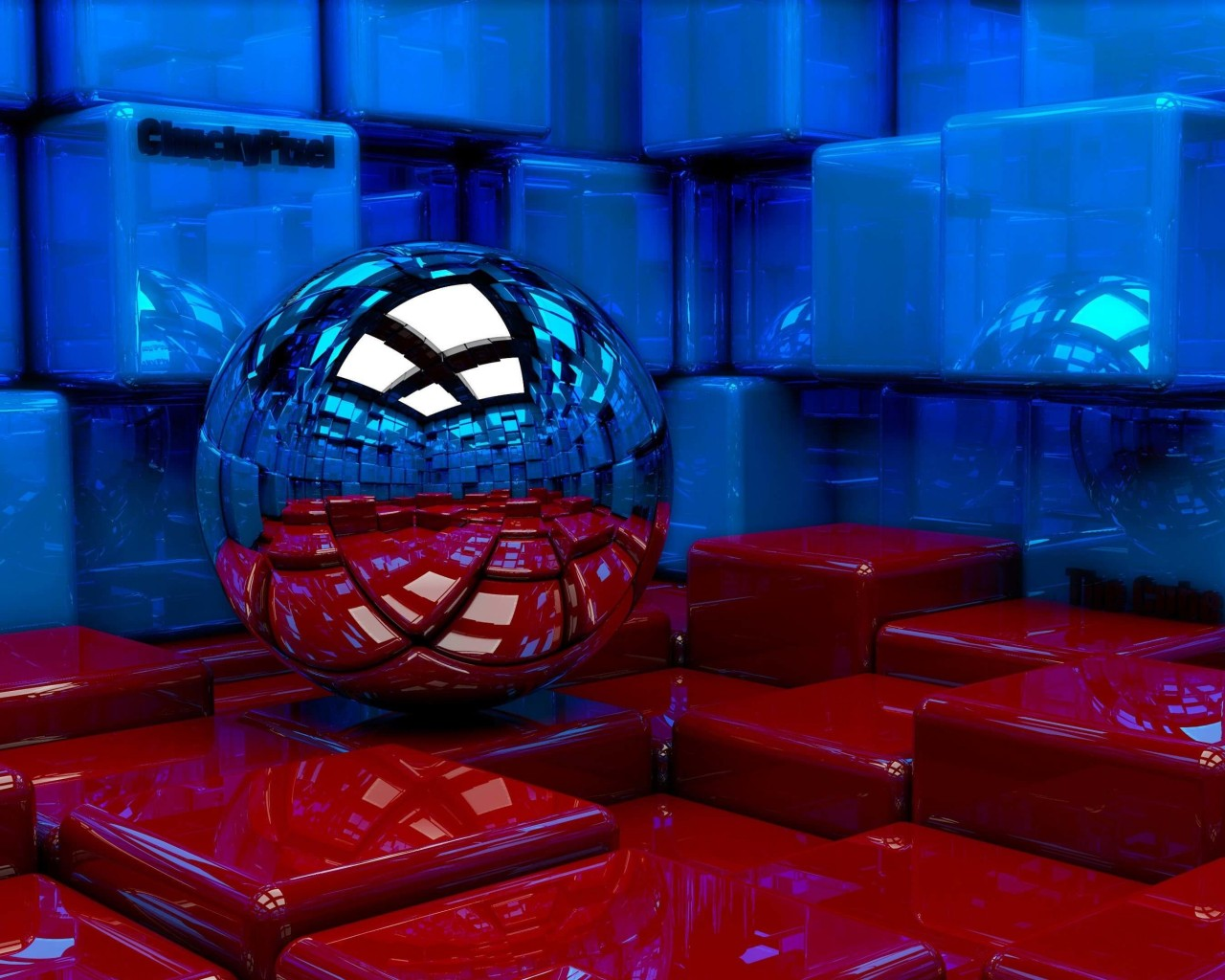 Metallic Sphere Reflecting The Cube Room HD wallpaper for ...