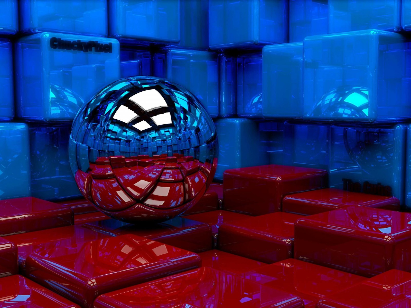 Metallic Sphere Reflecting The Cube Room Wallpaper for Desktop 1600x1200