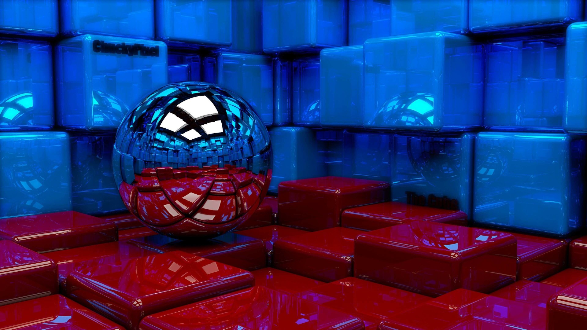 Metallic Sphere Reflecting The Cube Room Wallpaper for Desktop 1920x1080