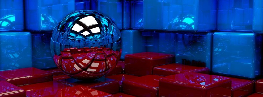 Metallic Sphere Reflecting The Cube Room Wallpaper for Social Media Facebook Cover