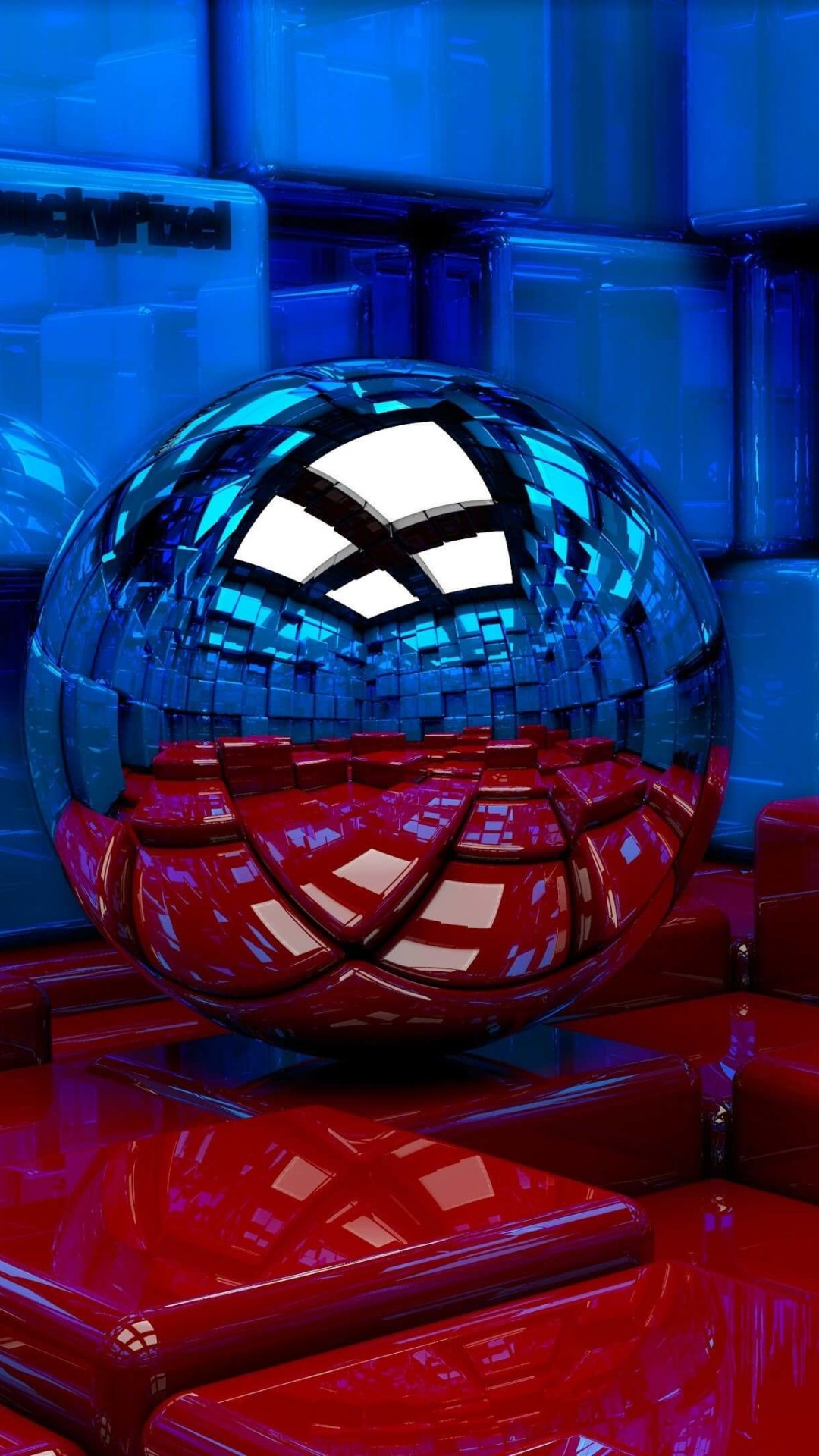 Metallic Sphere Reflecting The Cube Room Wallpaper for SAMSUNG Galaxy S4