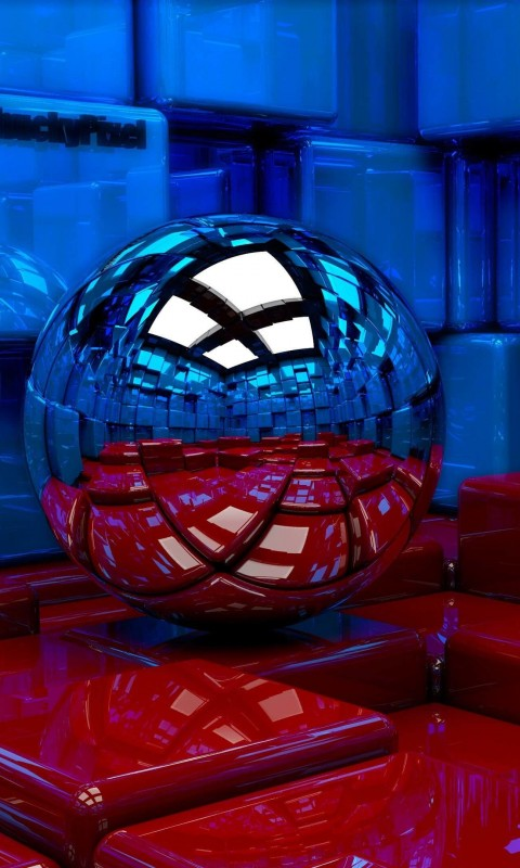 Metallic Sphere Reflecting The Cube Room Wallpaper for HTC Desire HD